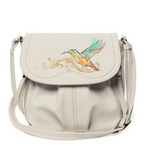 Bag made of eco-leather 'Hummingbird' white with gold embroidery