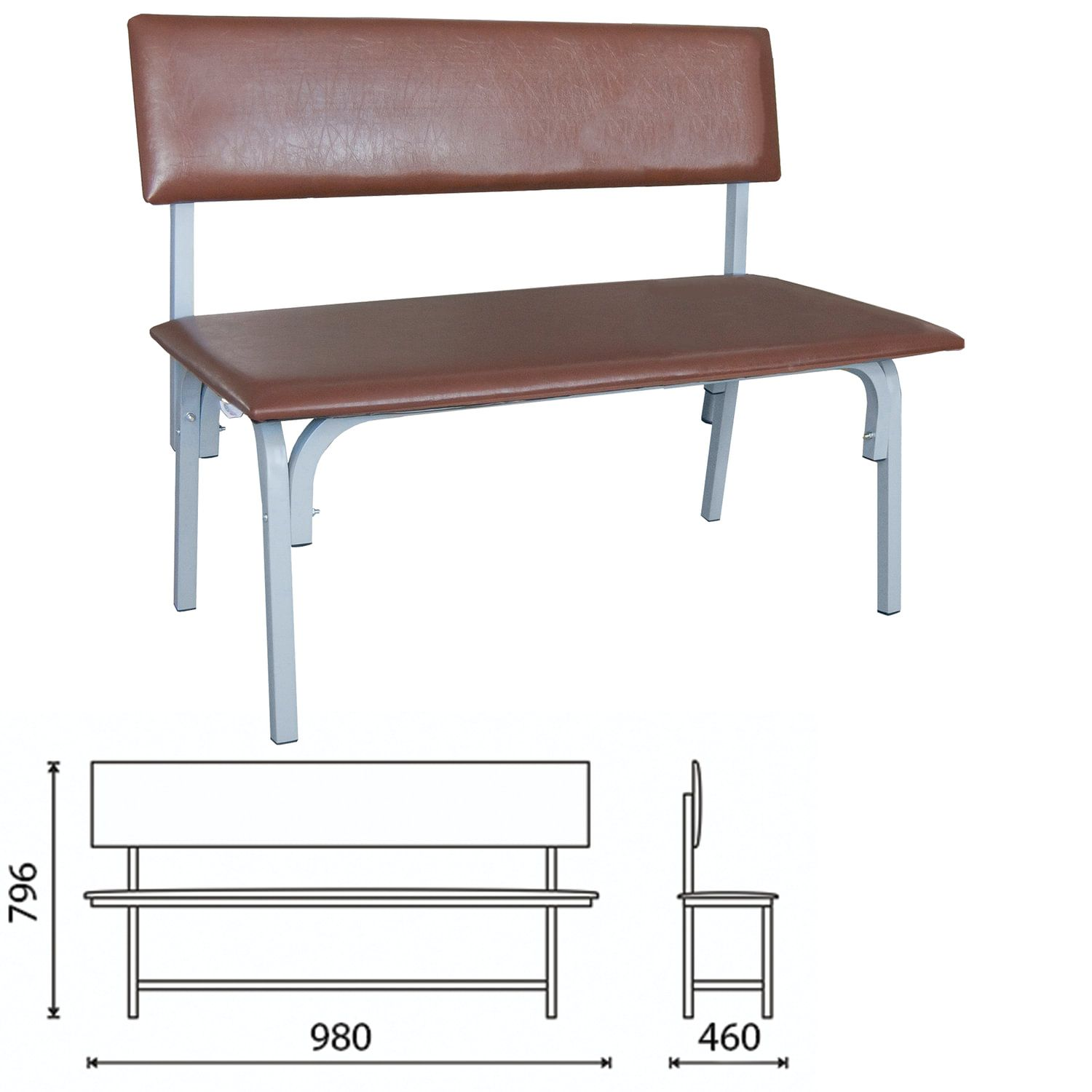 """COMFORUM / Bench with back """"Astrid"""", 980x460x796 mm, gray frame, brown leatherette"""