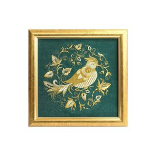 "Painting ""the summer garden"" green with gold embroidery"