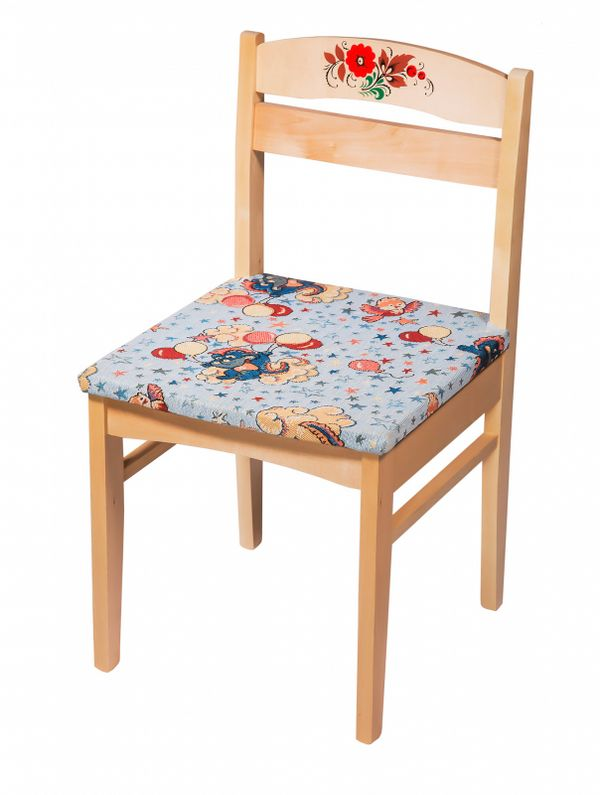 "Chair wooden child's ""Baby"" with painting and cloth 3 growth category"