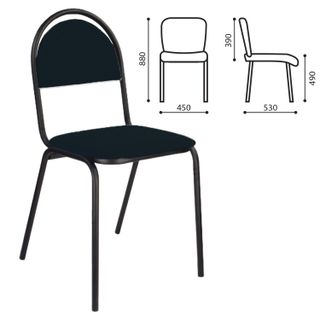 MS00M visitor chair, black frame, black leather