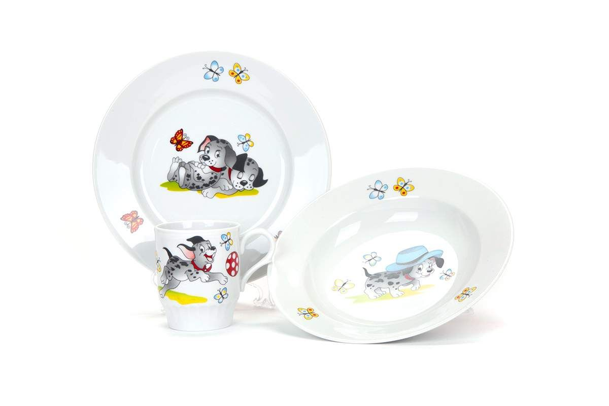 Dulevo porcelain / A set of dishes 3 ave. Mischievous puppies (vol. 200 mm chalk, te. Depth 200 mm, mug 210 ml Russian Field)