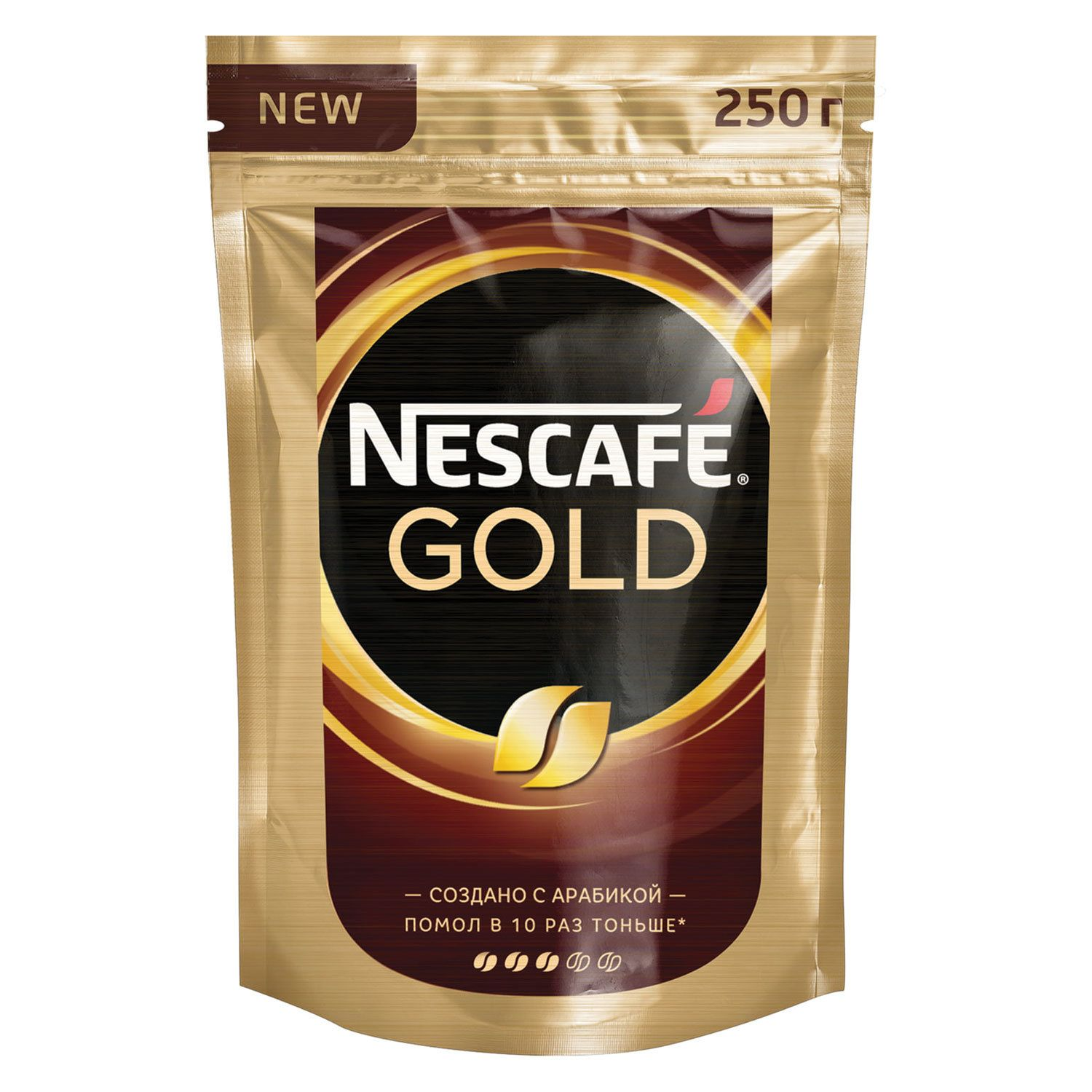 """NESCAFE / Ground coffee in instant """"Gold"""" sublimated, soft pack 250 g"""