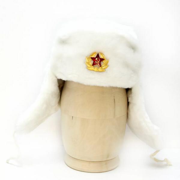 Matryoshka Factory / White Ushanka Hat with Cockade