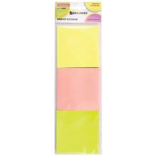 Unit self-adhesive (stickers), BRAUBERG, NEON, 76х76 mm, 3 colors x 50 sheets