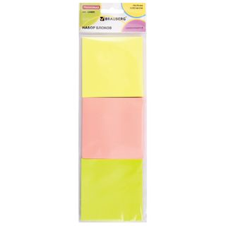 Unit self-adhesive (stickers), BRAUBERG, NEON, 76х76 mm, 3 colors x 50 sheets