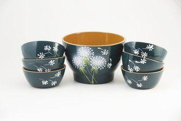 """Set of salad bowls """"Summer"""" Dandelion"""