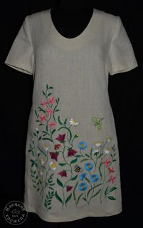 Dress womens linen embroidered С11777