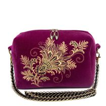 Velvet bag with chain 'of Lianet' purple with gold embroidery