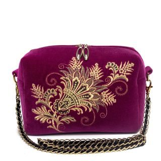 "Velvet bag with chain ""of Lianet"" purple with gold embroidery"
