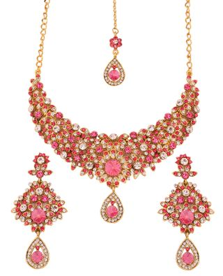 Touchstone Antique Gold Plated Filigree Style Necklace Set For Women.