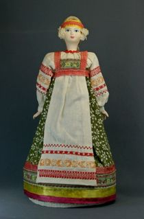 Doll gift porcelain. Center. Russia.Traditional girly summer suit. 19th century.