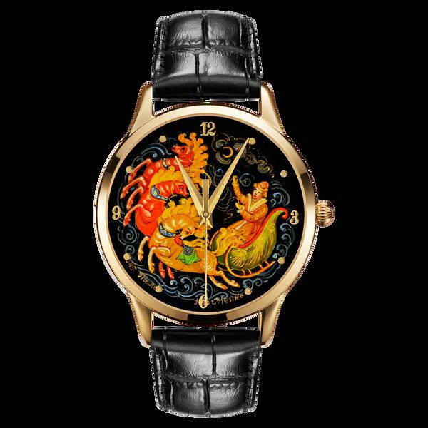 "Palekh watch ""Troika №45"" quartz, hand-painted, artist Kuzmenko, black band"