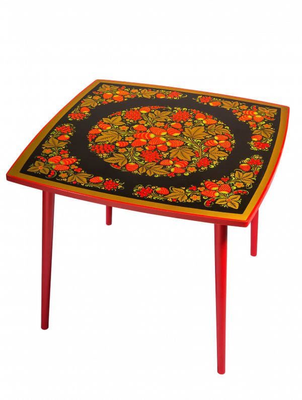 Table of wood 'Autumn' with Khokhloma painting, height 520 mm