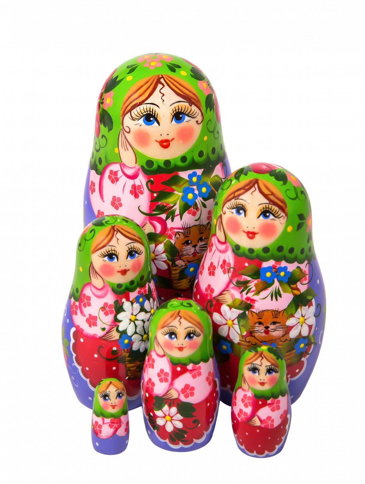 Khokhloma painting / Author's Matryoshka 6 dolls