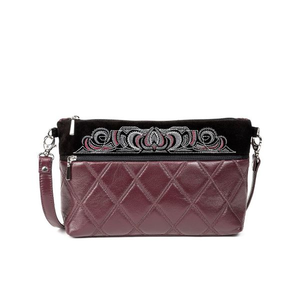 Leather bag 'Teresa' Burgundy with gold embroidery