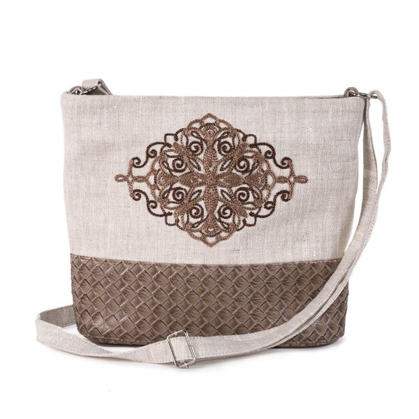 Linen bag 'square dance' a grey with silk embroidery