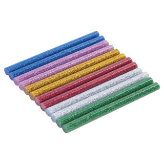 Glue rods, diameter 7 mm, length 100 mm, colored (assorted), WITH SEQUINS, SET 12 pieces, 6 colors, BRAUBERG
