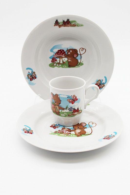Dulevo porcelain / A set of dishes 3 ave. Myshata (t. 200 mm chalk, t. 200 hl., Mug 210 ml Russian field