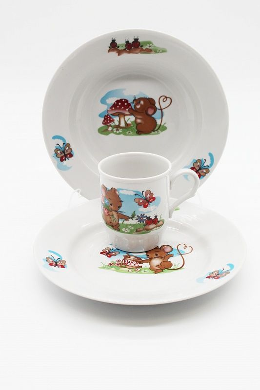 Dulevo porcelain / A set of dishes 3 ave. Myshata (t. 200 mm chalk, t. 200 hl., Mug 210 ml Russian field