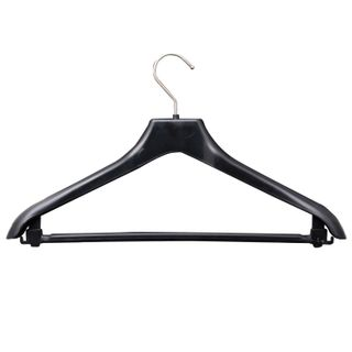 Shoulder hanger, size 46-48, plastic, anatomical, crossbar, strap hooks, black