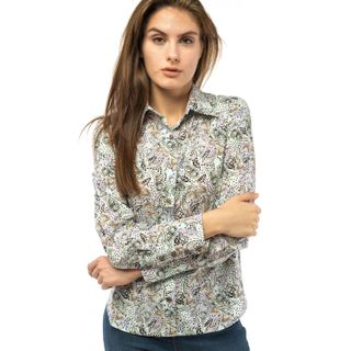 """Blouse female """"Flora"""" of gray color with a geometric pattern"""