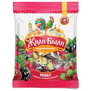 ZHILI-BYLI / Candy-caramel lollipop, mini, assorted cranberries / currants / raspberries, 200 g, package