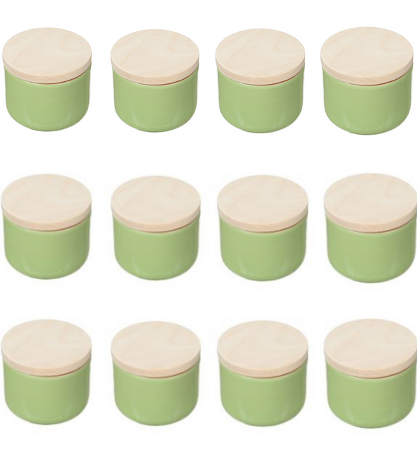 Vyatka ceramics / A set of containers with a lid, a volume of 0.2 liters, 12 pcs. (light green)