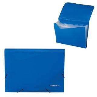 Folder on elastics BRAUBERG, A4, 13 pockets, plastic indexes, blue, Russia