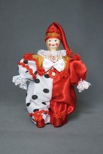 Doll gift porcelain. Clown Parsley. Theatrical character.