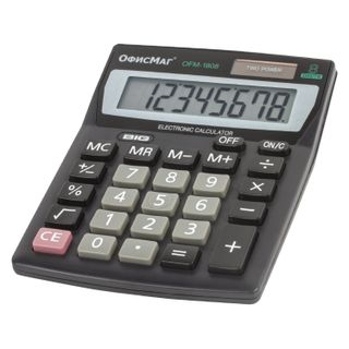 Desktop calculator OFFISMAG OFM-1807, COMPACT (140x105 mm), 8 digits, dual power supply