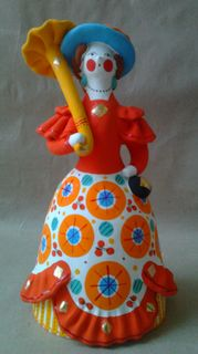 Dymkovo clay toy Lady urban handbag