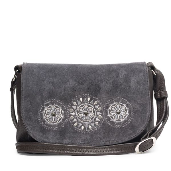 Bag made of eco-leather 'Kaleidoscope' gray color with silver embroidery