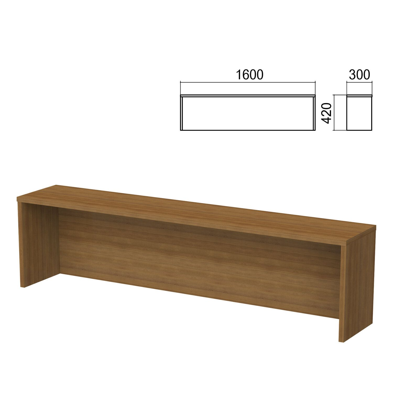 Argo table add-on, 1600 mm wide, walnut