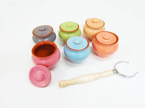 Vyatka ceramics / Set 1/3, 3 pots, 0.7 l each. (mix)