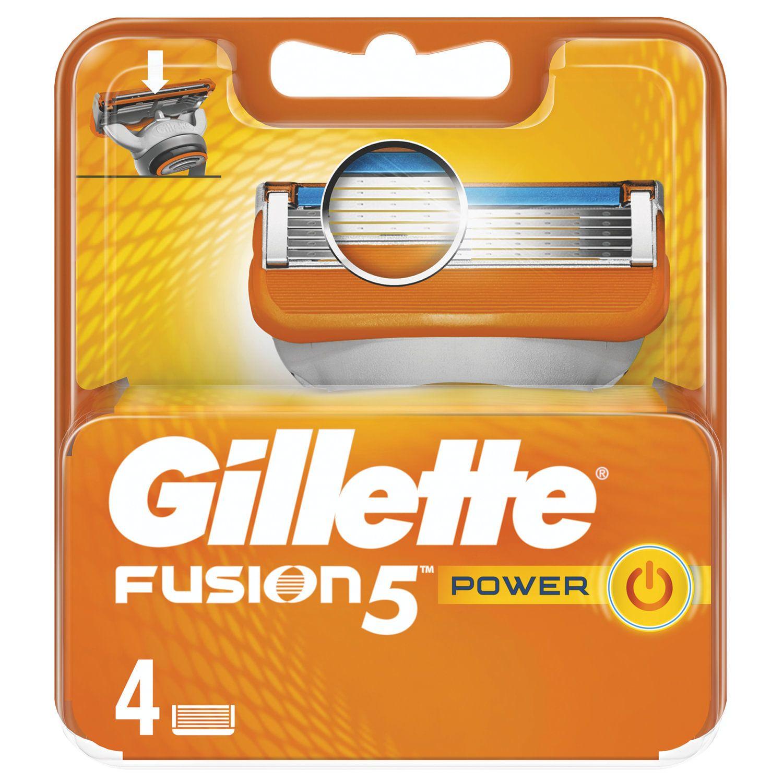 """Replacement shaving cassettes 4 pcs. GILLETTE """"Fusion Power"""" for men"""