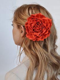 Hairpin brooch Rose carrot-scarlet