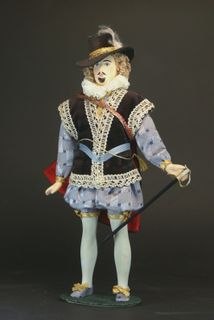 Doll gift porcelain. England. The secular male costume. My Lord. 1560-ies.