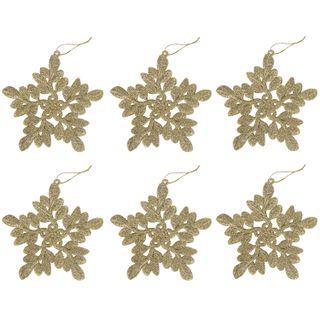 "GOLDEN TALE / Christmas tree pendant decoration ""Golden Snowflake"", a SET of 6 pcs., 11 cm, glitter"
