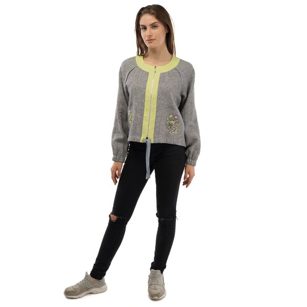 Jacket women's 'Wilsonia' gray with silk embroidery