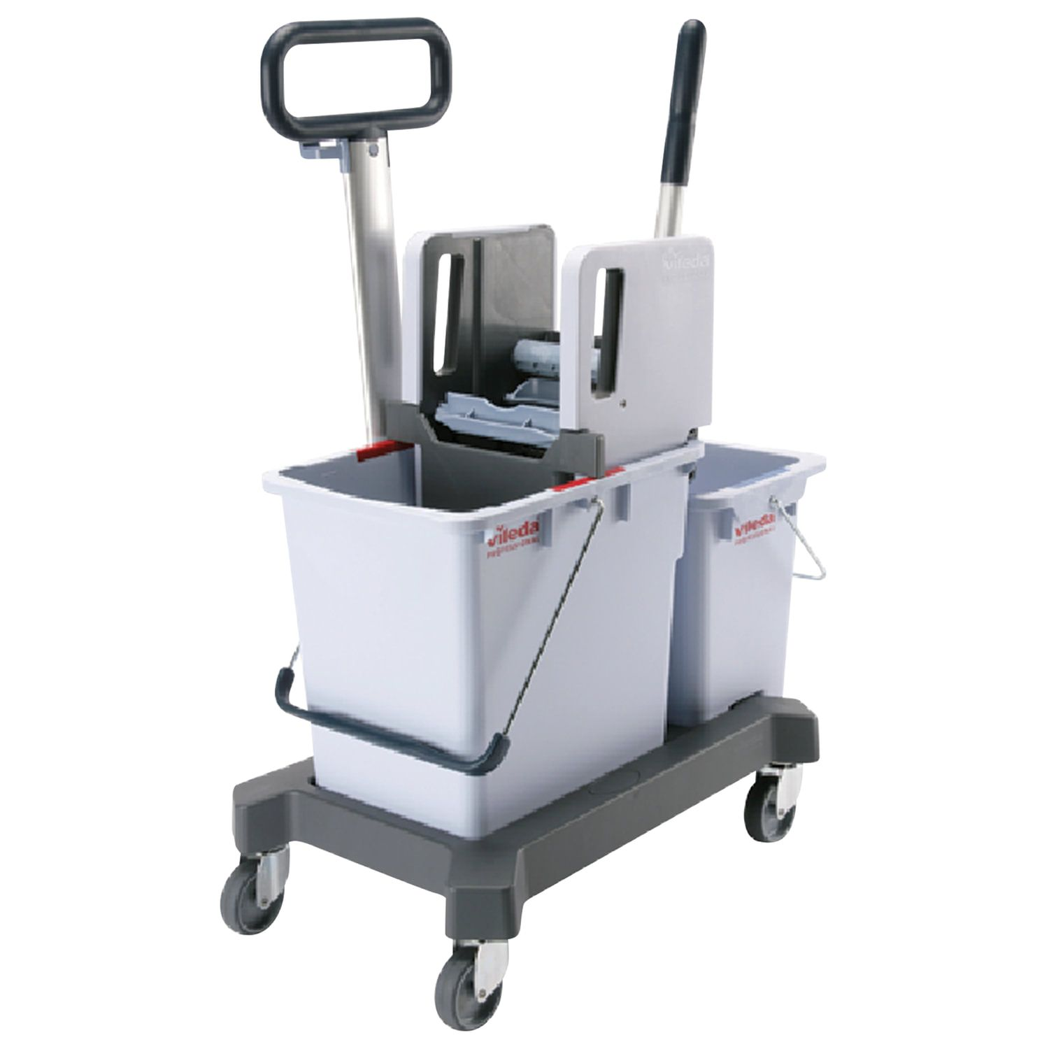 Cleaning trolley VILEDA, 2 removable buckets 25 l + 8 l, platform, with transport handle, vertical spin