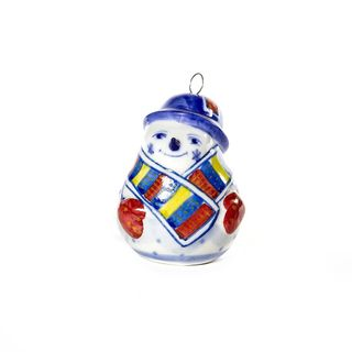 Christmas toy Snowman colored underglaze painting, Gzhel Porcelain factory