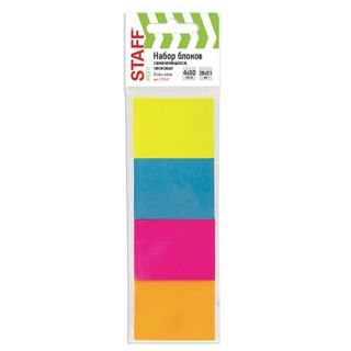 Unit self-adhesive (stickers) STAFF, NEON, 38х51 mm, 50 sheets, SET of 4 pieces, assorted