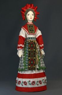 Doll gift porcelain. The Oryol province. Russia. Festive, girly costume.