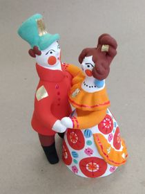 Dymkovo clay toy Dancing couple