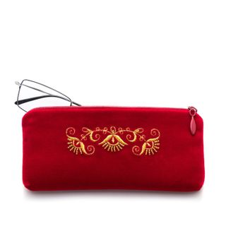 """Velvet eyeglass case """"Trio"""" red color with Golden embroidery"""