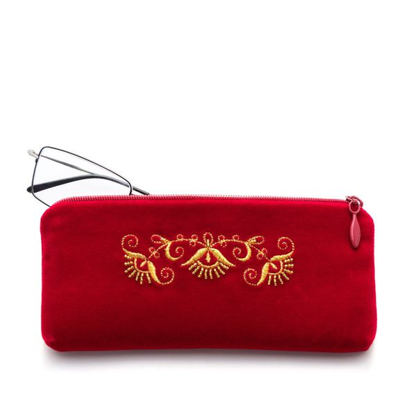 Velvet eyeglass case 'Trio' red color with Golden embroidery