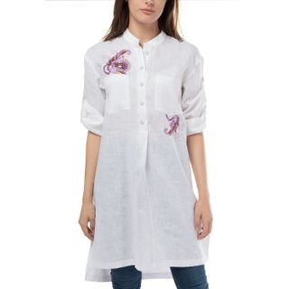 """Women's blouse """"Diona"""" white with silk embroidery"""