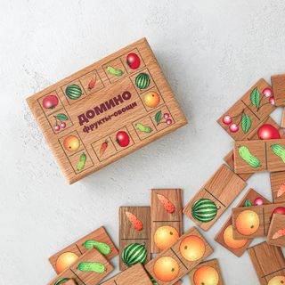 "Children's Domino ""Fruits-vegetables"" in a wooden box"