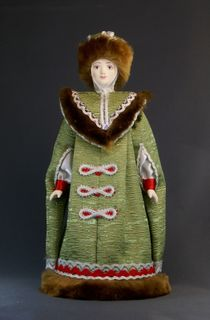 Doll gift porcelain. Boyar in winter clothes. 15th - 17th centuries Russia.